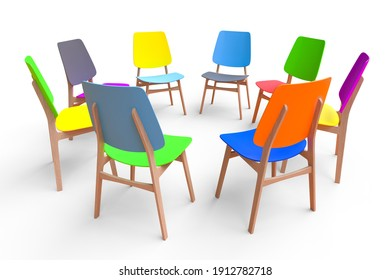 Colorful chairs stand in a circle on a white background. The concept of communication.
