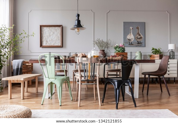 Colorful Chairs Wooden Table Grey Rustic Stock Photo (Edit ...