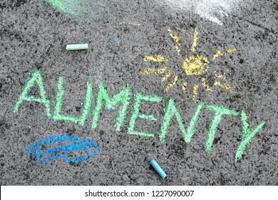 Colorful chalk drawing on asphalt: Polish word ALIMONY and yellow sun