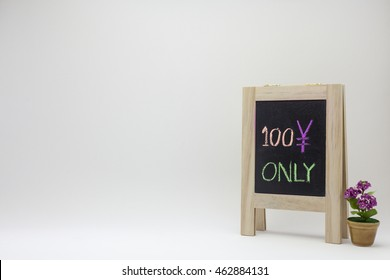 The colorful chalk handwriting of 100 yen only wording on vintage wooden chalkboard with cute minimal purple flower pot. White gradient background.