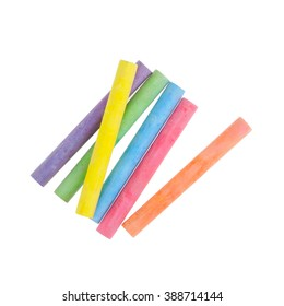 Colorful chalk isolated on white background.