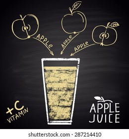Colorful chalk painted illustration of glass with apple juice. Infographic.