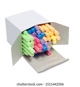 Colorful chalk stick in a white box isolated on white background with cliping path.