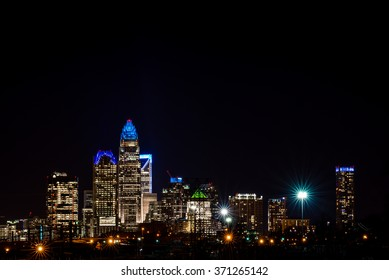 The colorful Charlotte, North Carolina skyline taken at night a week before the Super Bowl .