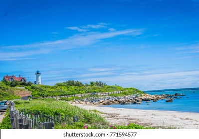 Colorful Chatham Lighthouse on the shores of Cape Cod MA