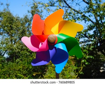 colorful cheerful windmill in the park