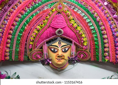 Colorful Chhau (or chhou) mask , handicrafts on display for sale - at Charida, Purulia - Bangla (formerly West Bengal), India. Chhau or Chhou is traditional tribal dance festival of India.
