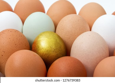Colorful chicken eggs with golden egg, top view