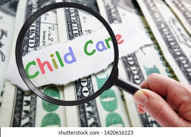 Colorful Child Care text with magnifying glass and money