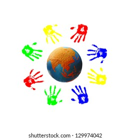 Colorful children hand print around a colorful globe of the world for the concept of humanity of every colors and creed on earth.