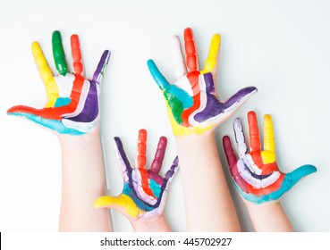 colorful children hands