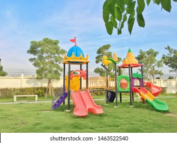 Colorful children playground activities in public park.