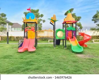 Colorful children playground activities in public park.