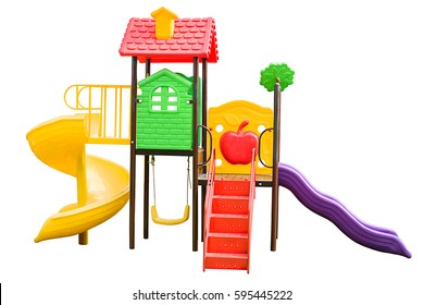 Colorful children playground isolated on white background.