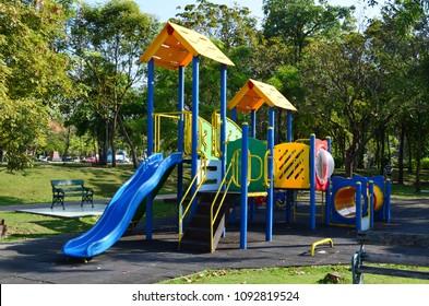 Colorful Children Playground In Public Park