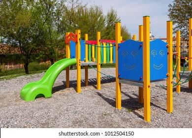 Colorful children playground in urban park.
