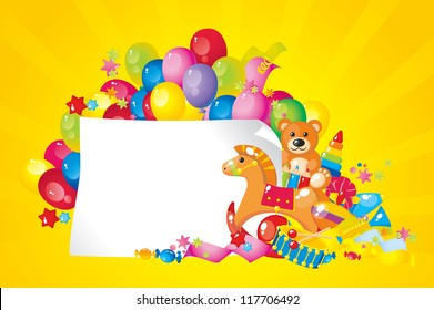 colorful children toys and frame for your text
