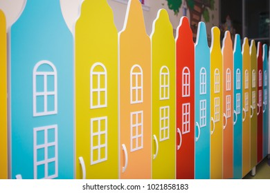 colorful children's lockers. close-up.