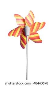 colorful children's pinwheel, isolated on white background