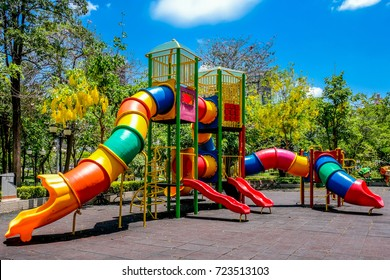 Colorful children's playground in a yard in abright beautiful day.