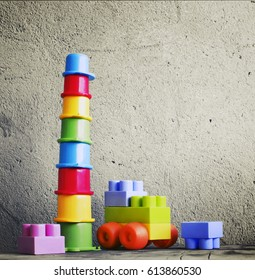 Colorful children's toys in vintage color
