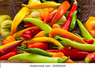 Colorful chili peppers in the basket