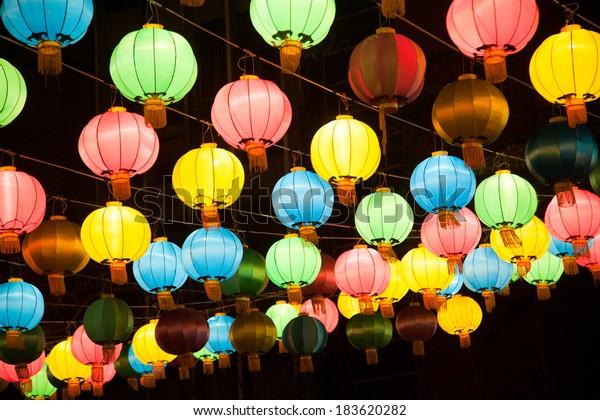 Colorful chines lanterns in Chinatown, Bamgkok