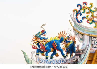 Colorful Chinese Kirin statue decorate on the roof of Chinese Temple, Qilin in Chinese Shrine, Kylin in joss house