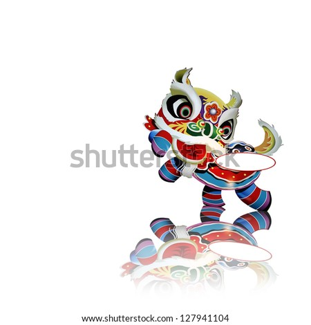 a colorful chinese new year celebration lion dance costume with a blank label for text isolated