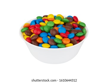 colorful chocolate buttons isolated on white background