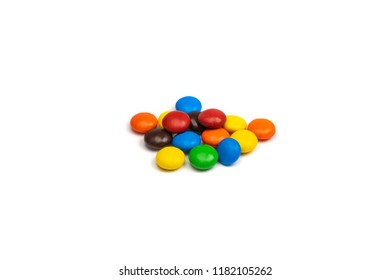 Colorful Chocolate Candy Treat Smarties on White Background Isolated