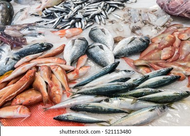 Colorful choice of fish at a market in Palermo, Sicily, Italy