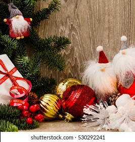 colorful christmas background with Santa puppets and grey fir