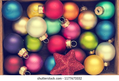 Colorful Christmas background with traditional vintage Christmas baubles