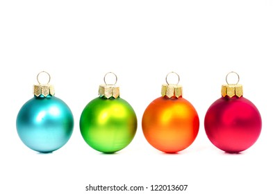 colorful christmas balls on white background