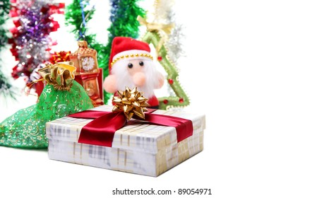 Colorful Christmas card with Santa and decorations
