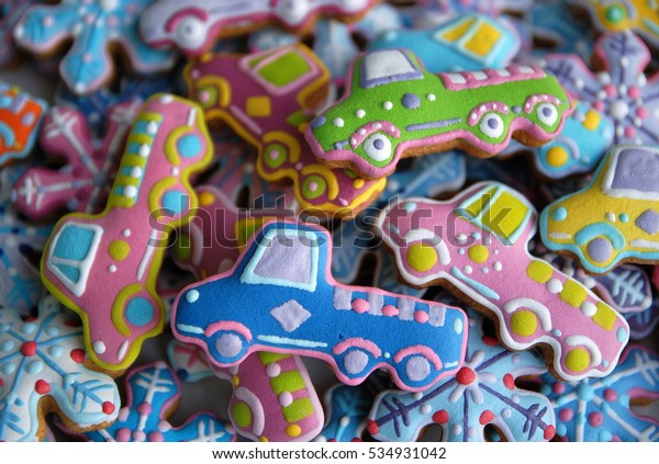 Colorful Christmas Cookies Car Shaped Birthday Stock Photo Edit Now