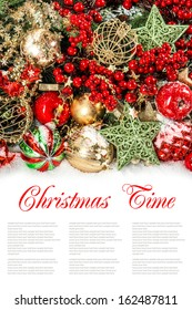 Colorful christmas decorations in red, gold, green. Festive background with sample text Christmas Time