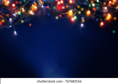 colorful christmas lights background - Shutterstock ID 767683156