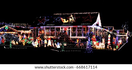 colorful Christmas lights on a house