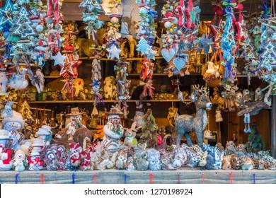 The colorful christmas market in Vipiteno in the evening. Trentino Alto Adige, Italy.