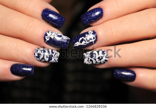 Christmas Nails Designs.Colorful Christmas Nails Winter Nail Designs Stock Photo