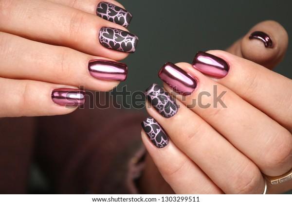 Colorful Christmas Nails Winter Nail Designs Stock Photo
