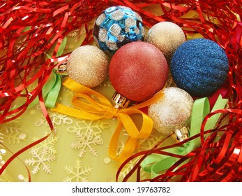 colorful christmas ornament with baubles