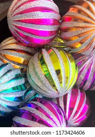 Colorful Christmas ornaments.