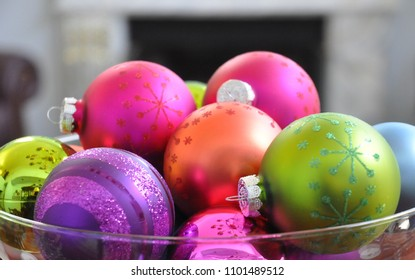 colorful Christmas ornaments, useful as a background pattern / photo