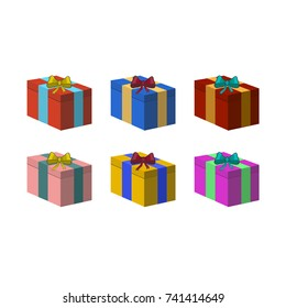 Colorful christmas presents isolated on white tone