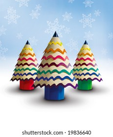 Colorful Christmas Tree Made out of Pencil ideal for christmas card greetings
