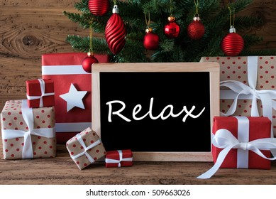 Colorful Christmas Tree, Text Relax