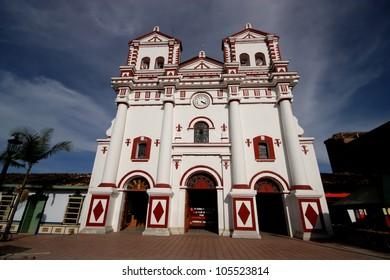 Colorful church on the square in village Guatape near Medellin, Colombia.
